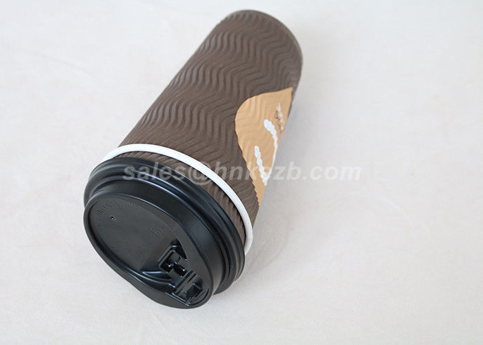 20oz Black Printing Ripple Paper Cups Corrugated Coffee Cups With Plastic Lids