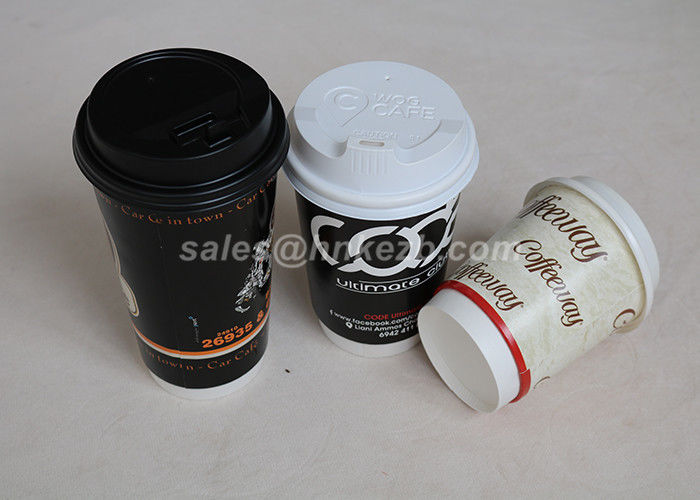 Custom Logo Printed Vending Paper Cups Disposable Ripple Wall With Lids